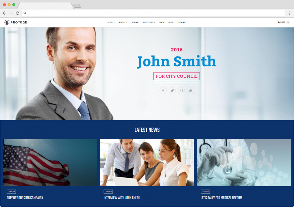 Protege WordPress Theme For Political Campaigns