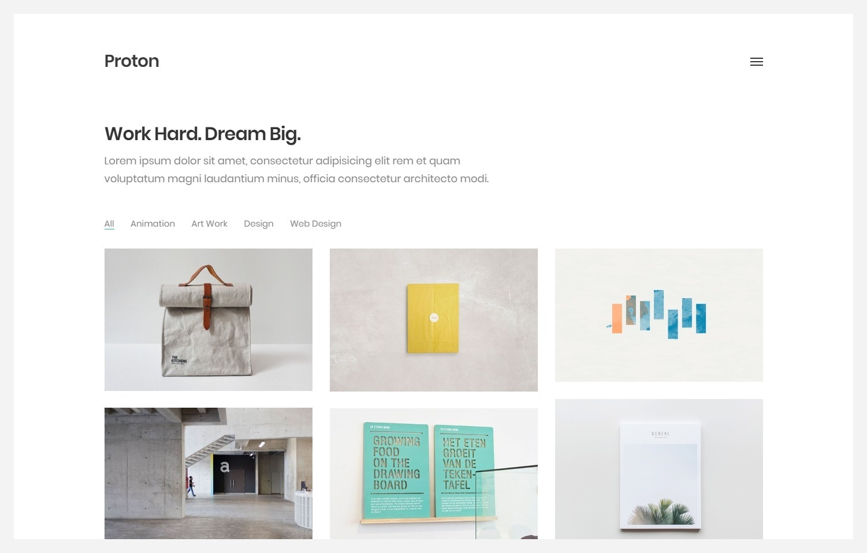 Proton WordPress Portfolio Theme with Minimal Style