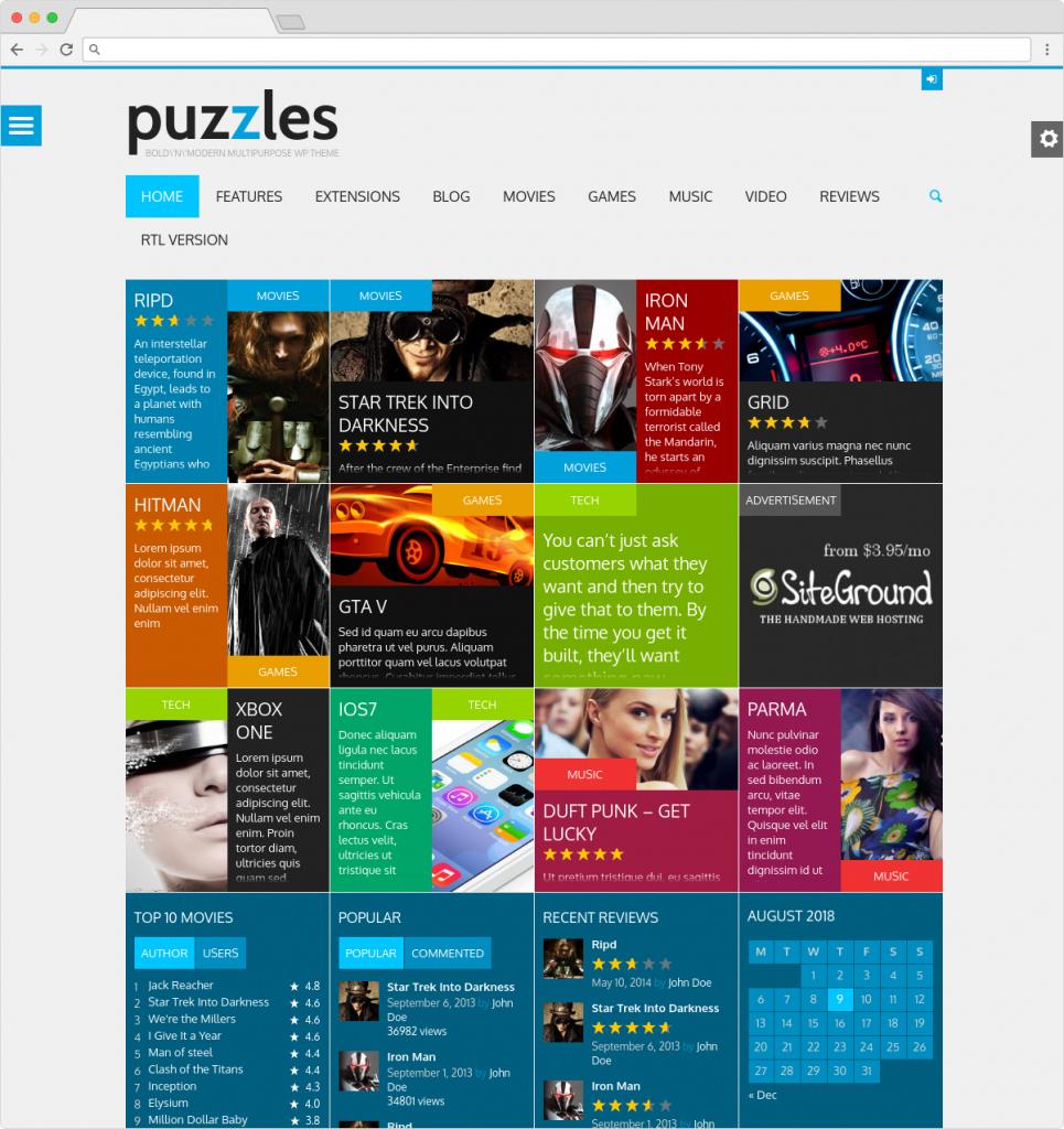 Puzzles WordPress Metro Style Magazine Reviews Theme