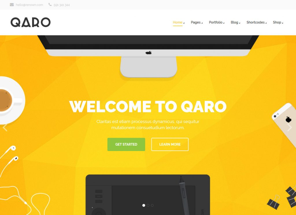 Qaro WordPress App Promotional Tool Theme