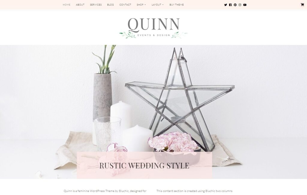 Quinn Feminine Style Events Wedding and Design Theme