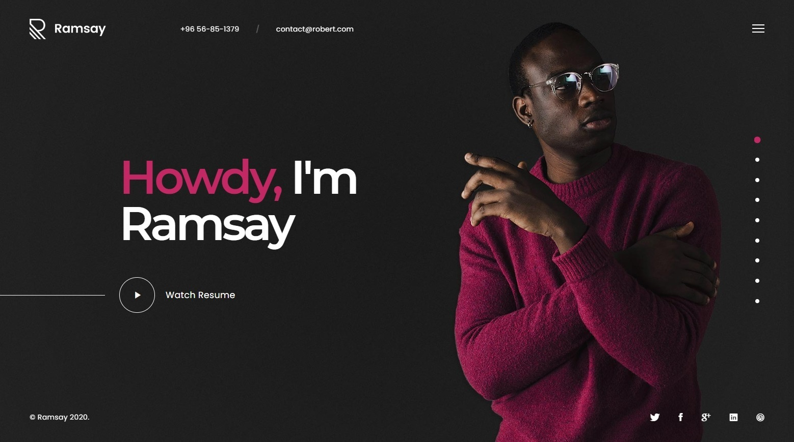 Ramsay Creative Personal Onepage WordPress Theme for vCards