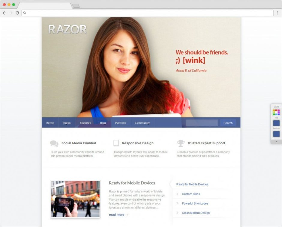 Razor BuddyPress WordPress Theme For Online Community Building
