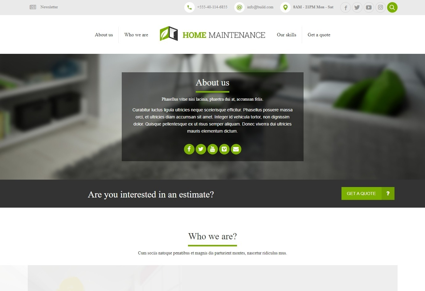 ReConstruction WordPress Theme Home Maintenance Demo