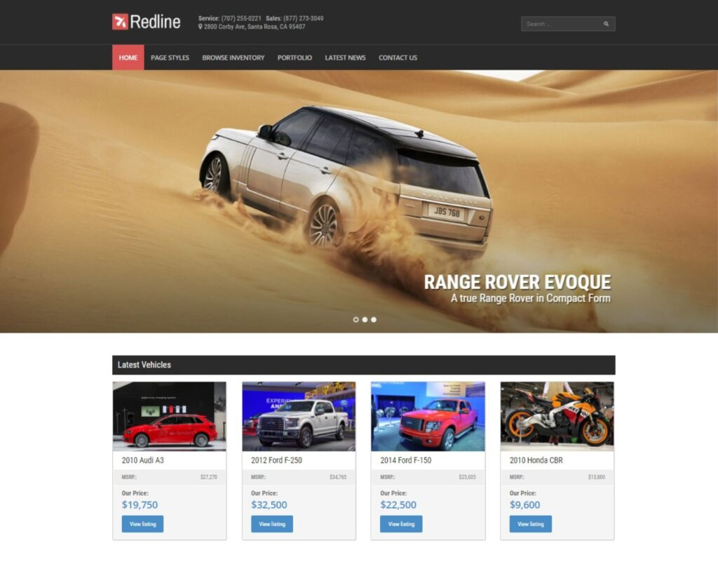Redline New and Used Cars Car Dealership WordPress Theme
