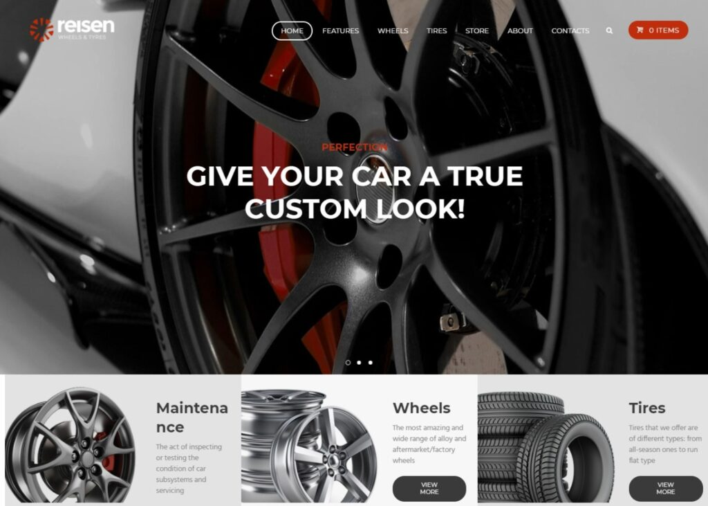Reisen Car Parts eCommerce Theme for Tires and Wheels