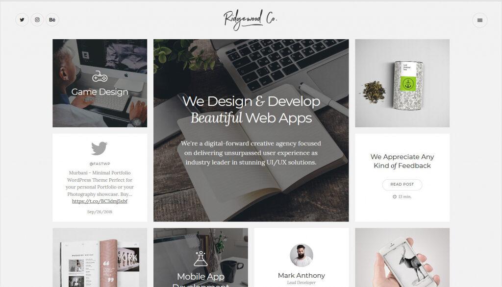 Ridgewood WordPress Portfolio Theme For Apps