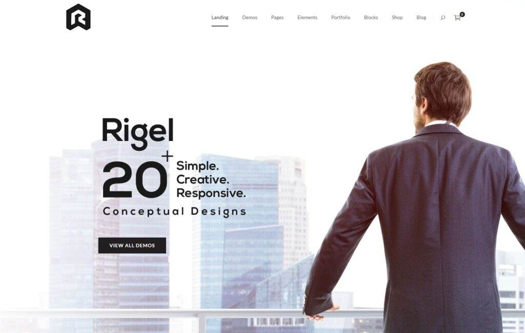 Rigel One Page Theme with 20 Demo Designs
