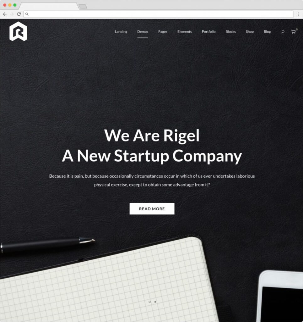 Rigel WordPress One Page App Theme
