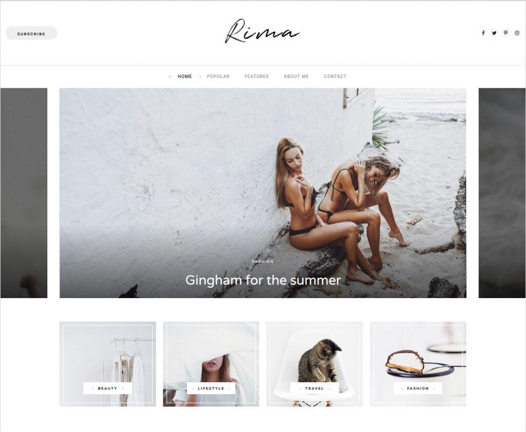 Rima Stylish And Modern Personal Blogging Theme