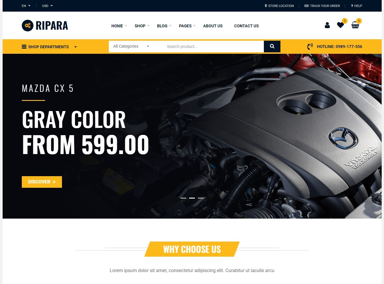 Ripara Auto Parts Shop WordPress Theme