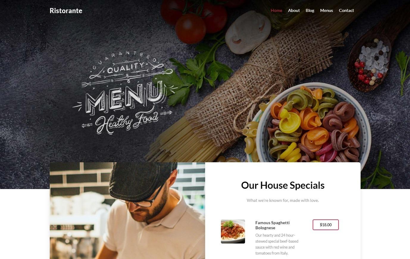 Ristorante One Option for Using Ultra to Create a Restaurant Website