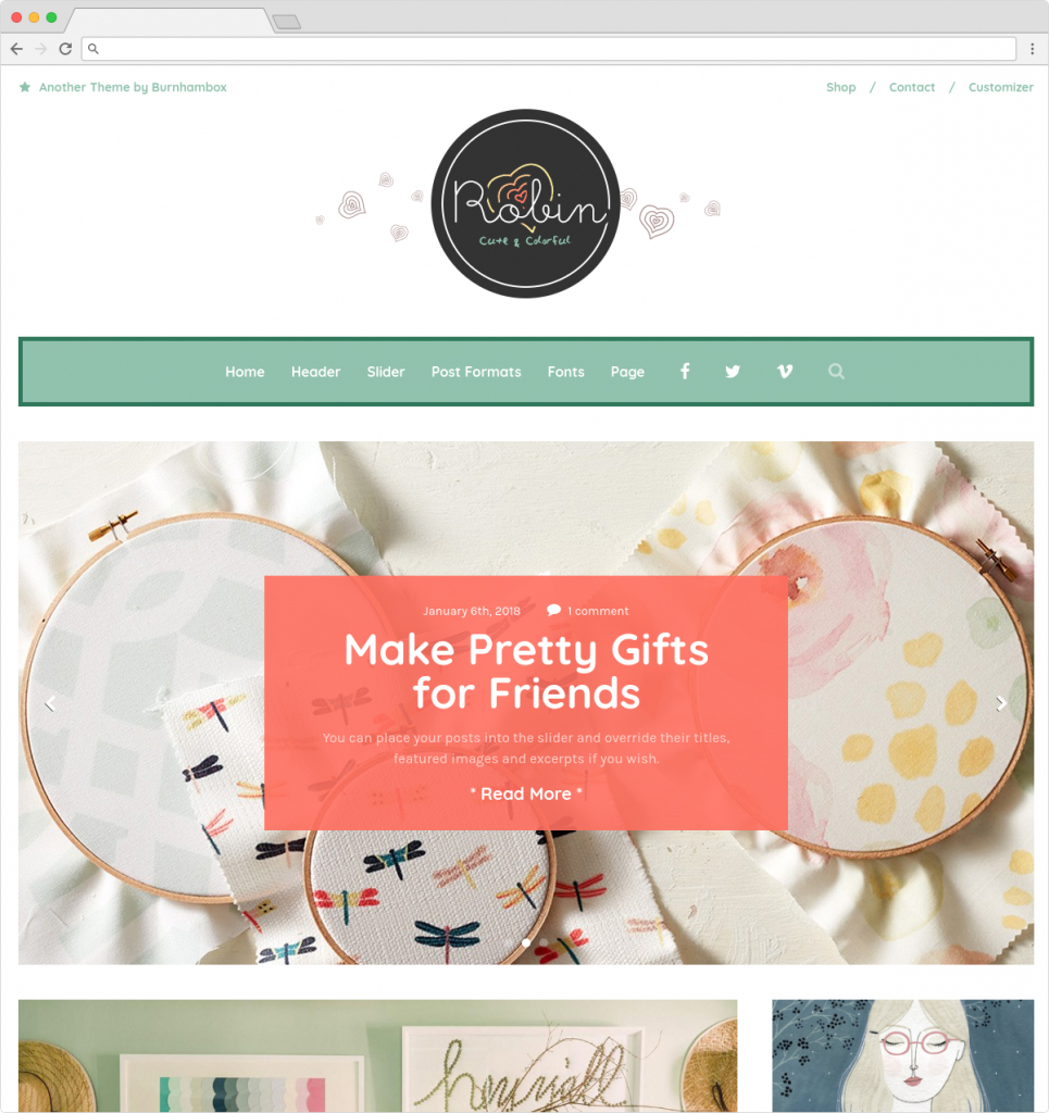 Robin Cute And Colorful Lifestyle Blog Theme For Women
