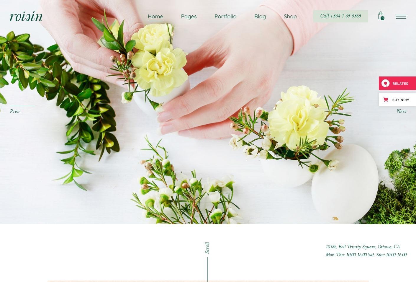Roisin Flower Shop and Florist Theme