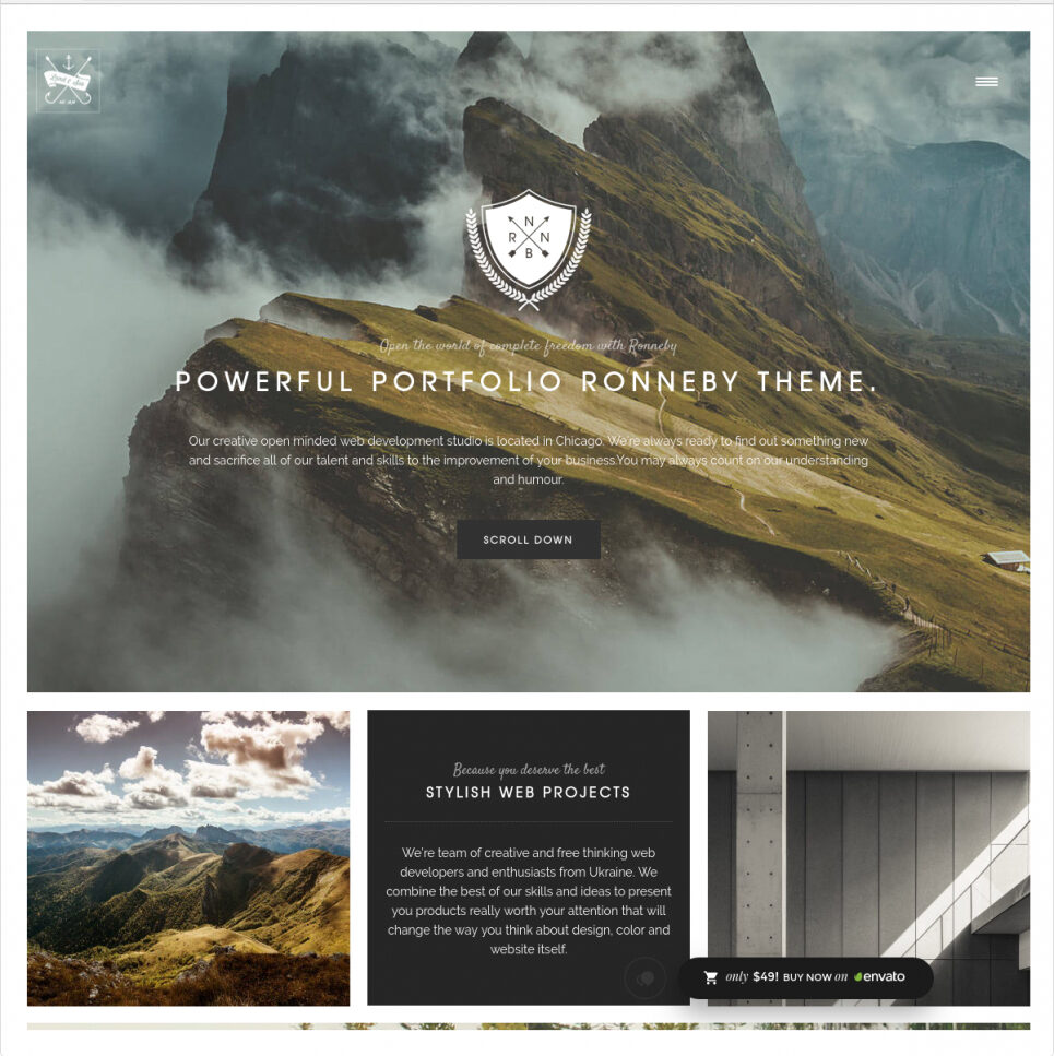 Ronneby Parallax WordPress Theme with Awesome Typography