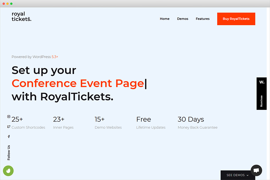 RoyalTickets Events Booking WordPress Theme
