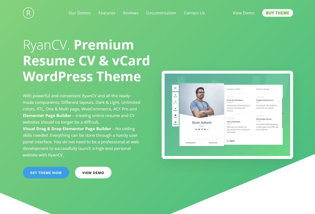 RyanCV Resume and vCard WordPress Theme