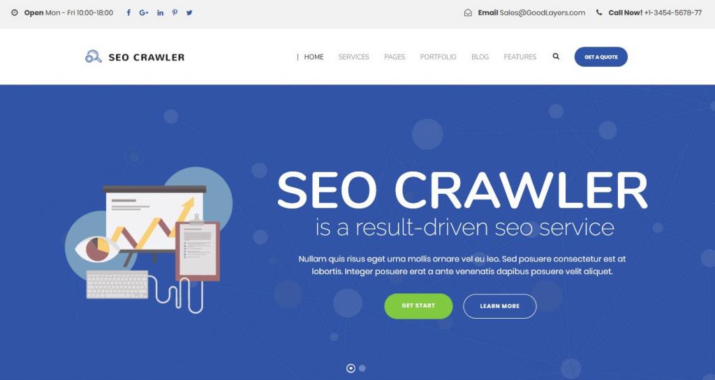SEO Crawler WordPress Digital Marketing Theme