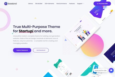 SaasLand Startups and SaaS WordPress Theme