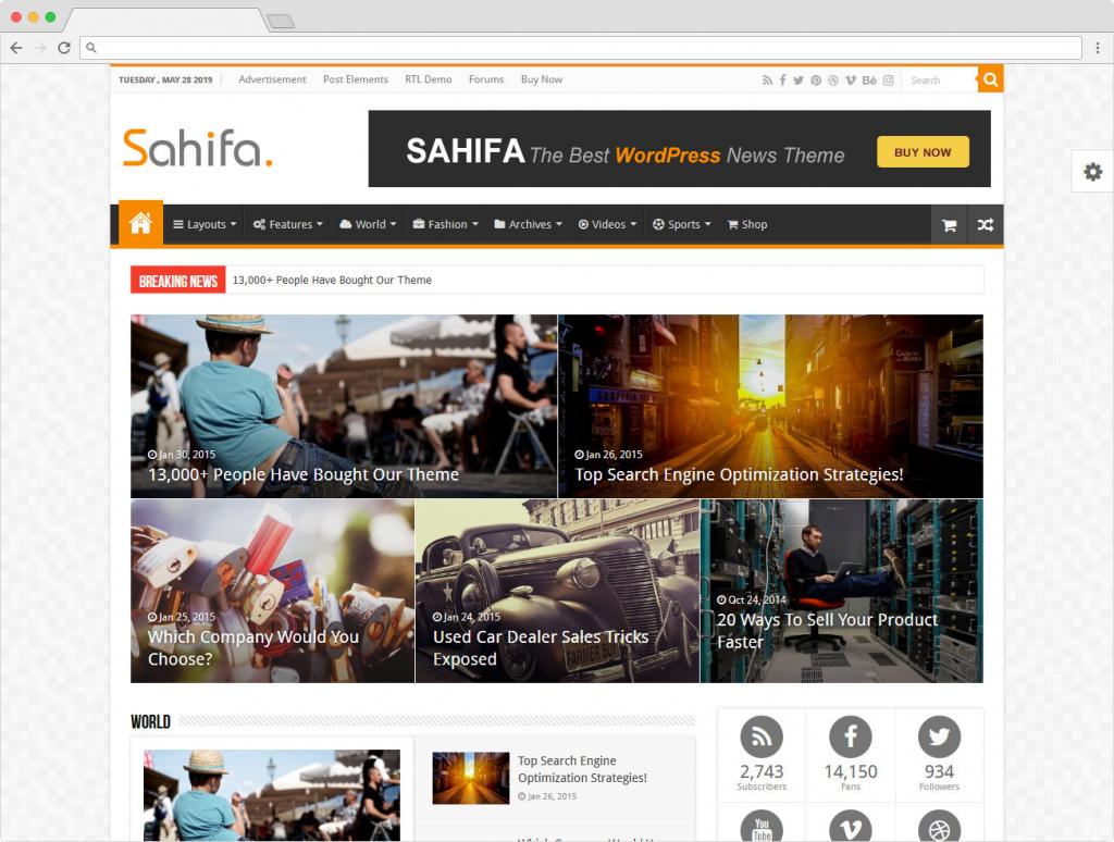 Sahifa WordPress Magazine And News Theme For Reviews