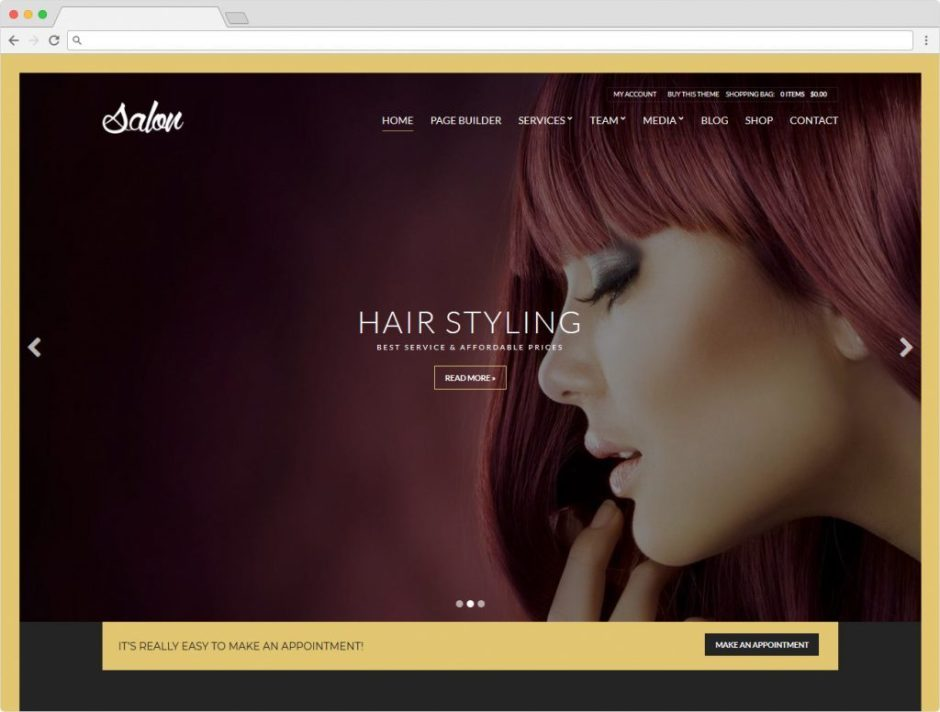 Salon WordPress Beauty Parlor Theme Feminine Websites