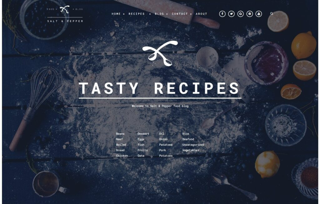 Salt and Pepper Recipe Blog and Restaurant WordPress Theme