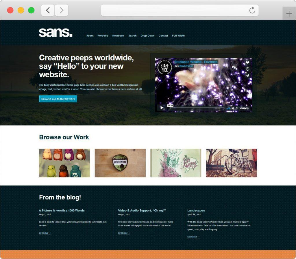 Sans A Responsive WordPress Portfolio Theme