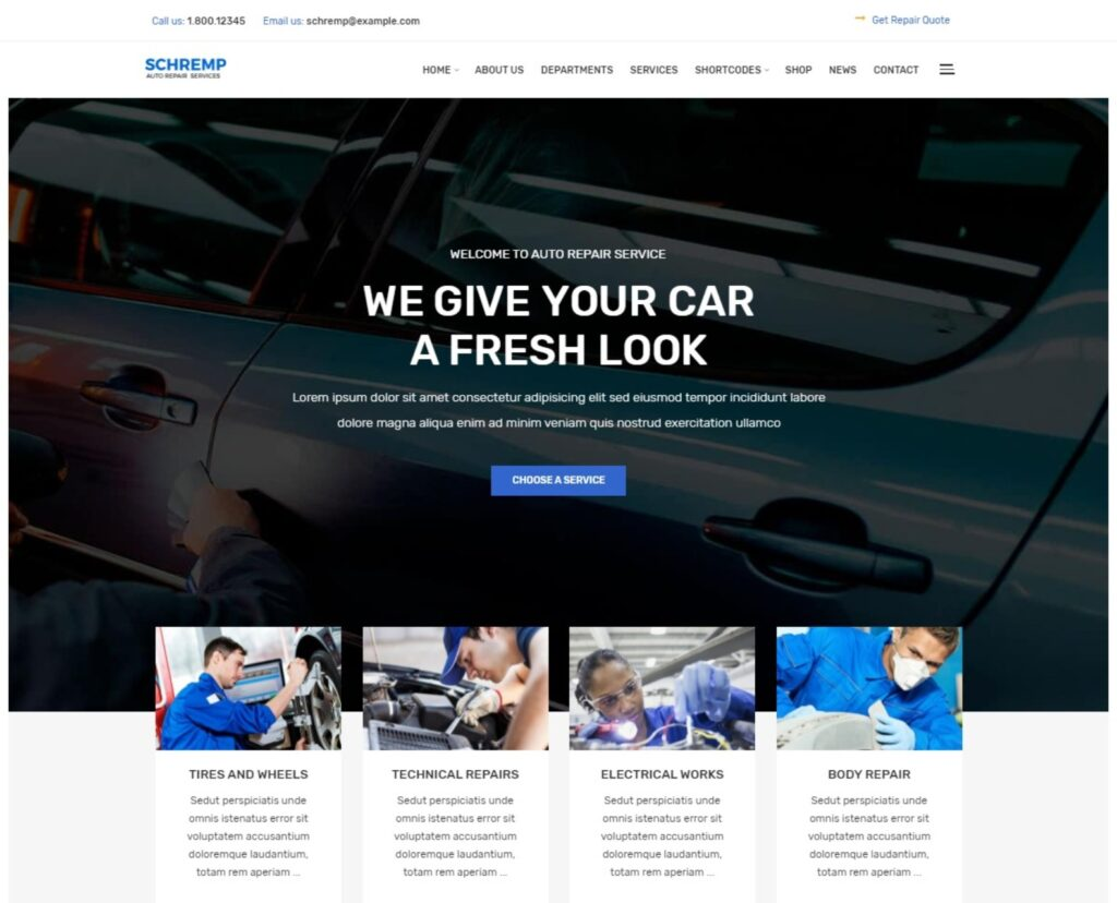 Schremp Auto Repair Services WordPress Theme