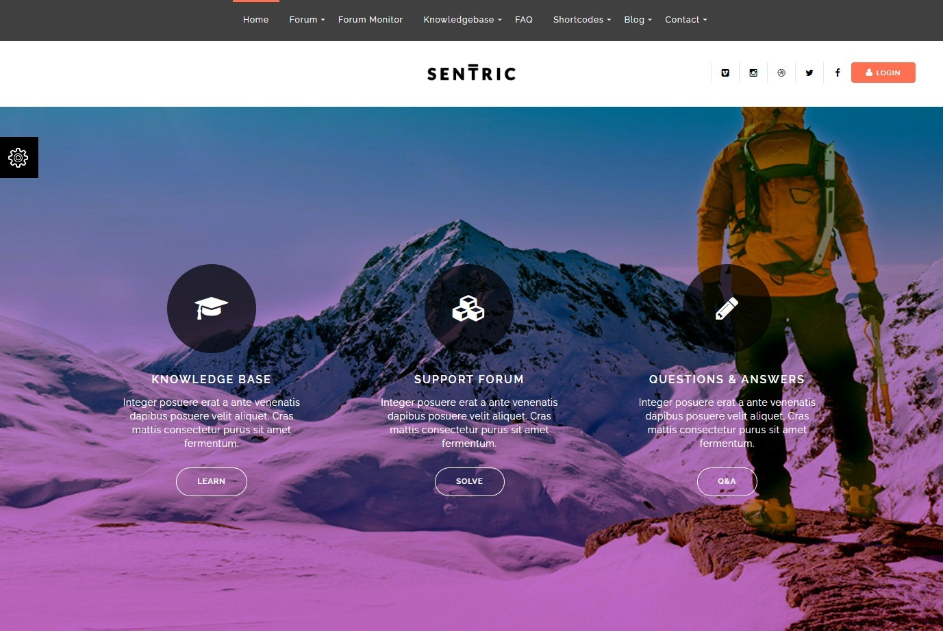 Sentric Support Forum and Knowledge Base WordPress Theme