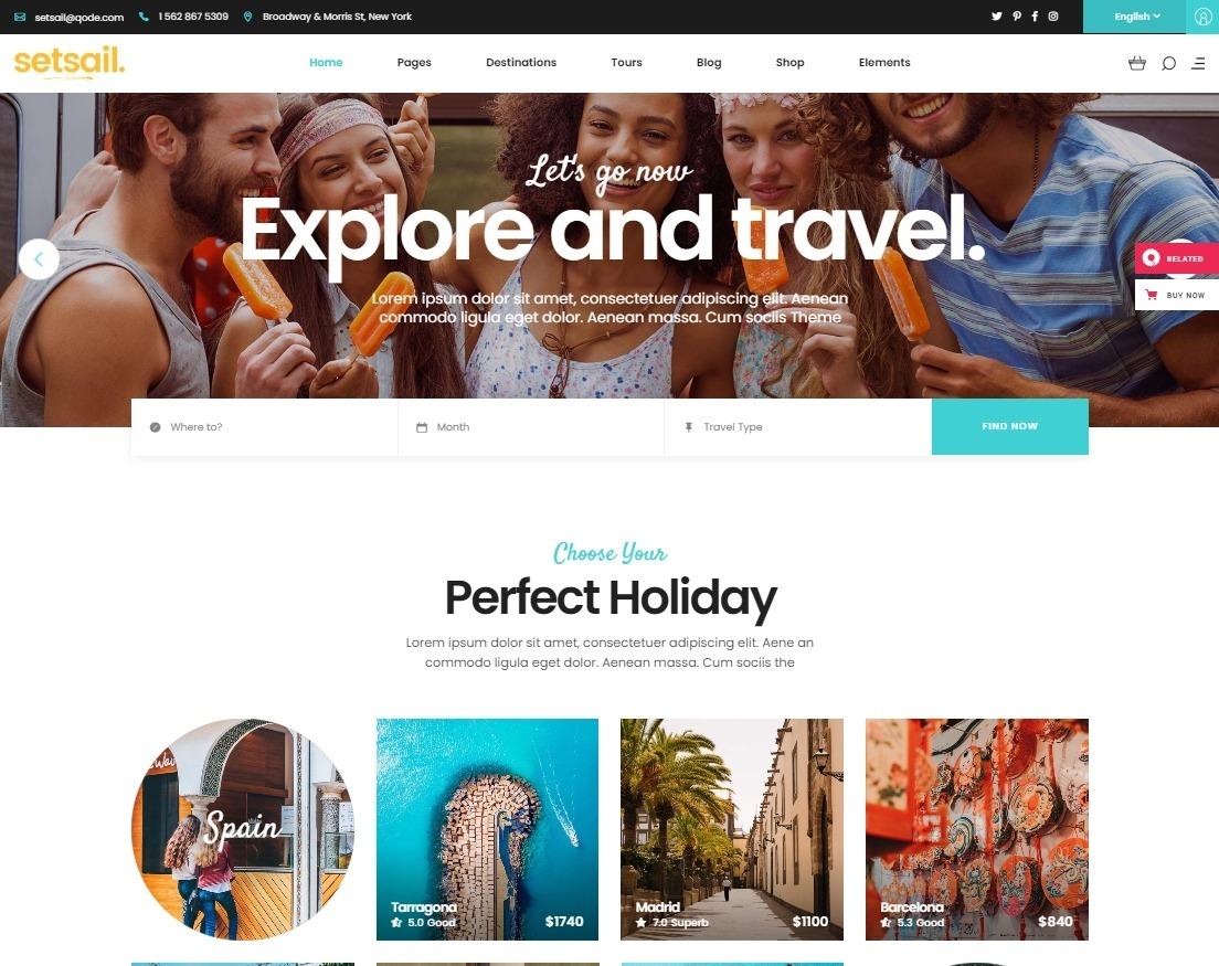 SetSail Modern WordPress Travel Agency Theme