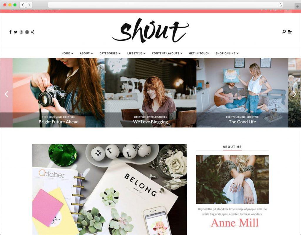 Shout Lifestyle Blog Magazine WordPress Theme