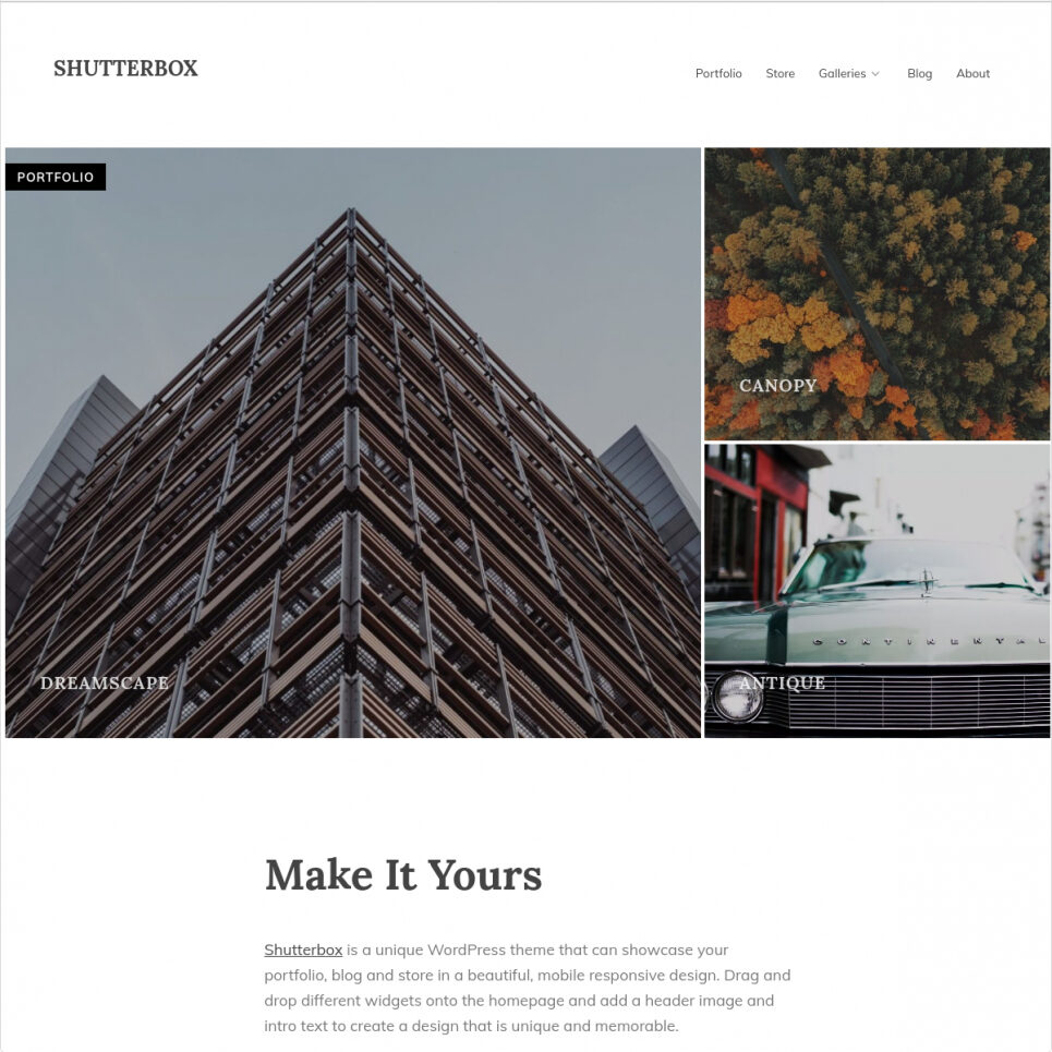 Shutterbox WordPress Digital Downloads Themes