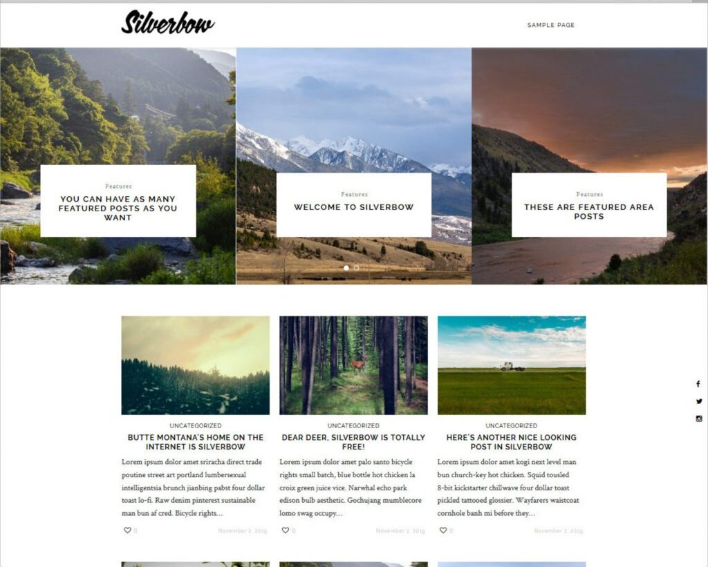 Silverbow Free WordPress Minimalist Theme