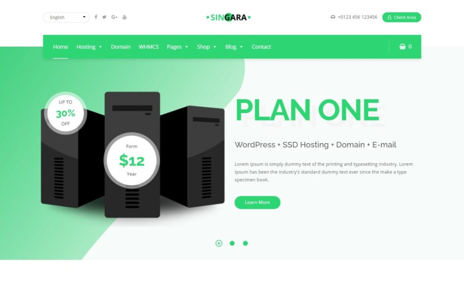 Singara Multipurpose Technology Hosting Business with WHMCS Template