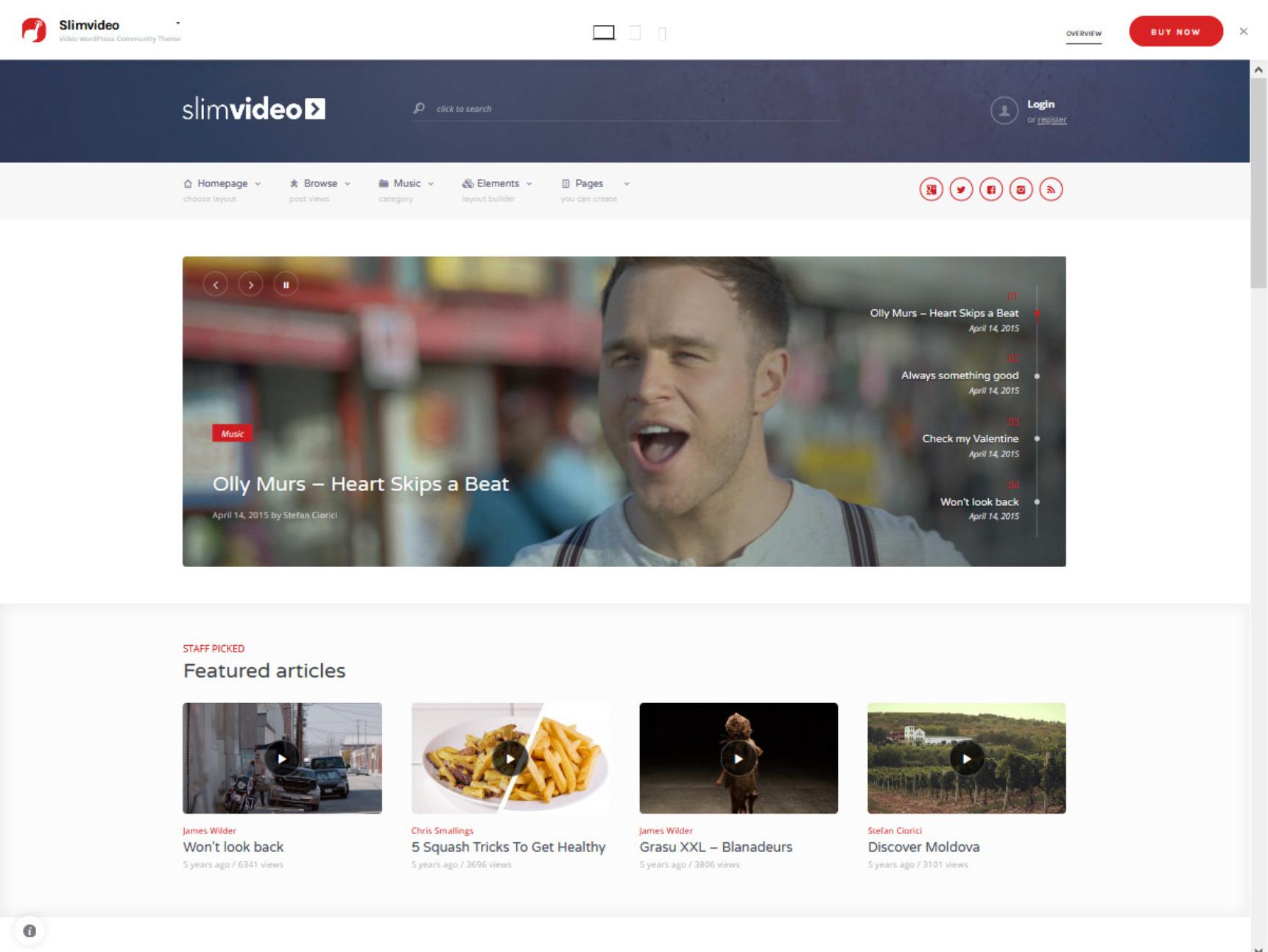 Slim Video WordPress YouTube Clone Theme
