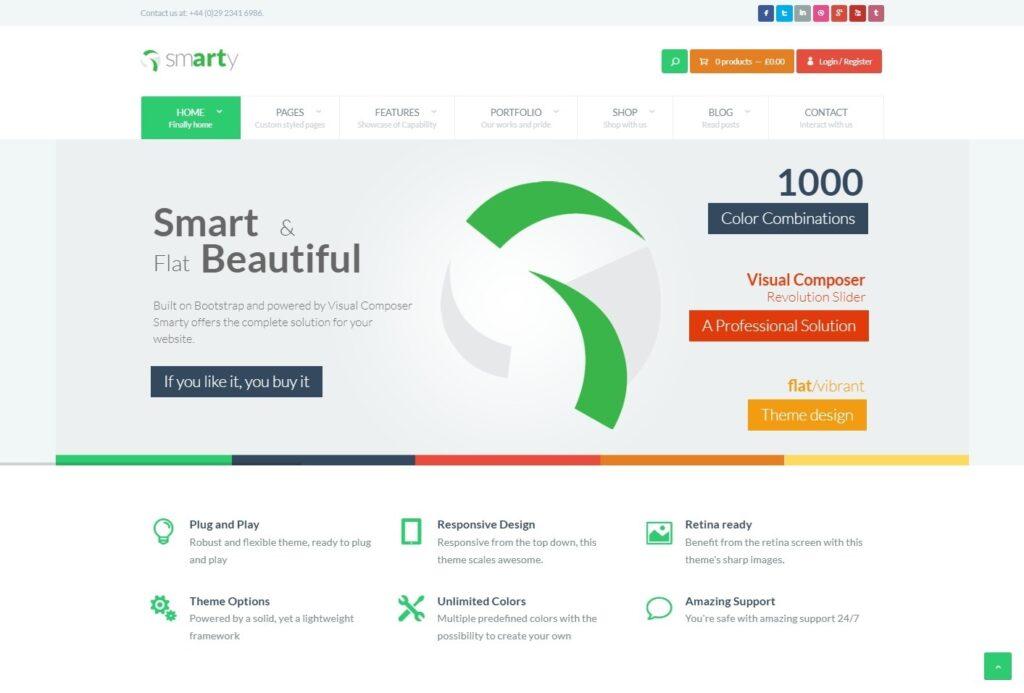 Smarty Flat Blog eCommerce and Portfolio Theme