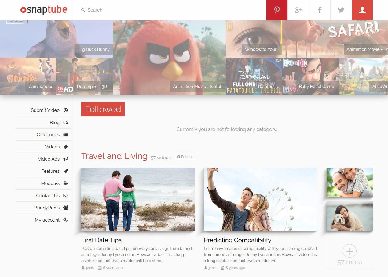SnapTube YouTube Video Clone Website Template
