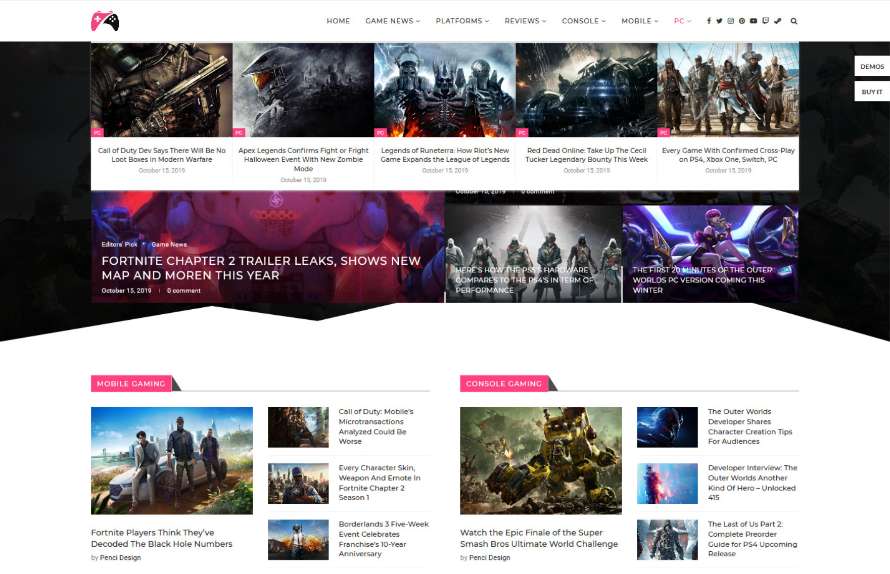 Soledad Current Events Gaming WordPress Theme