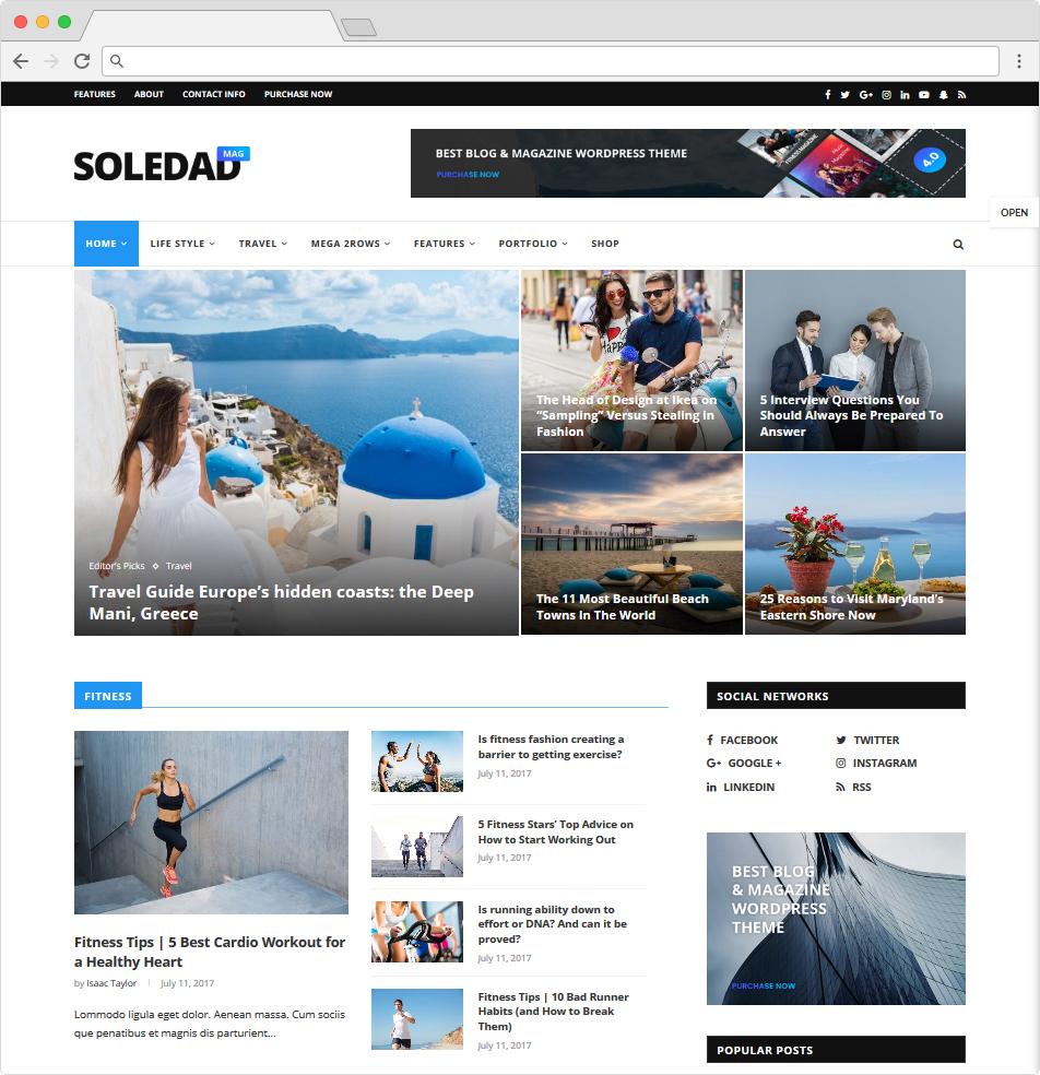 Soledad Popular Premium WordPress BuddyPress Magazine Theme