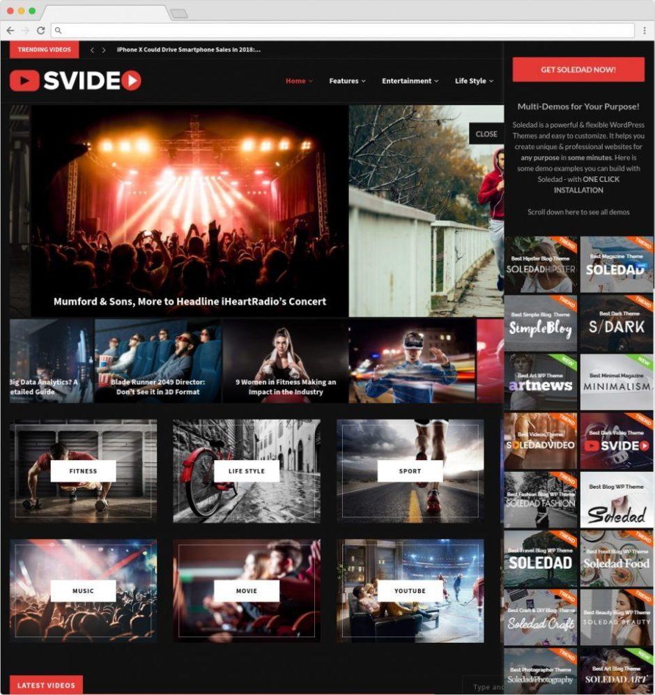 Soledad Video Magazine WordPress Theme