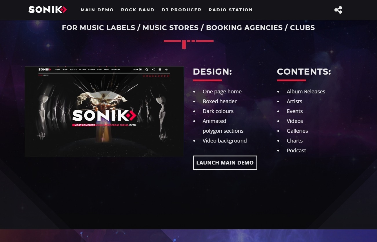 Sonik Most Complete Radio Stationa nd Music WordPress Theme