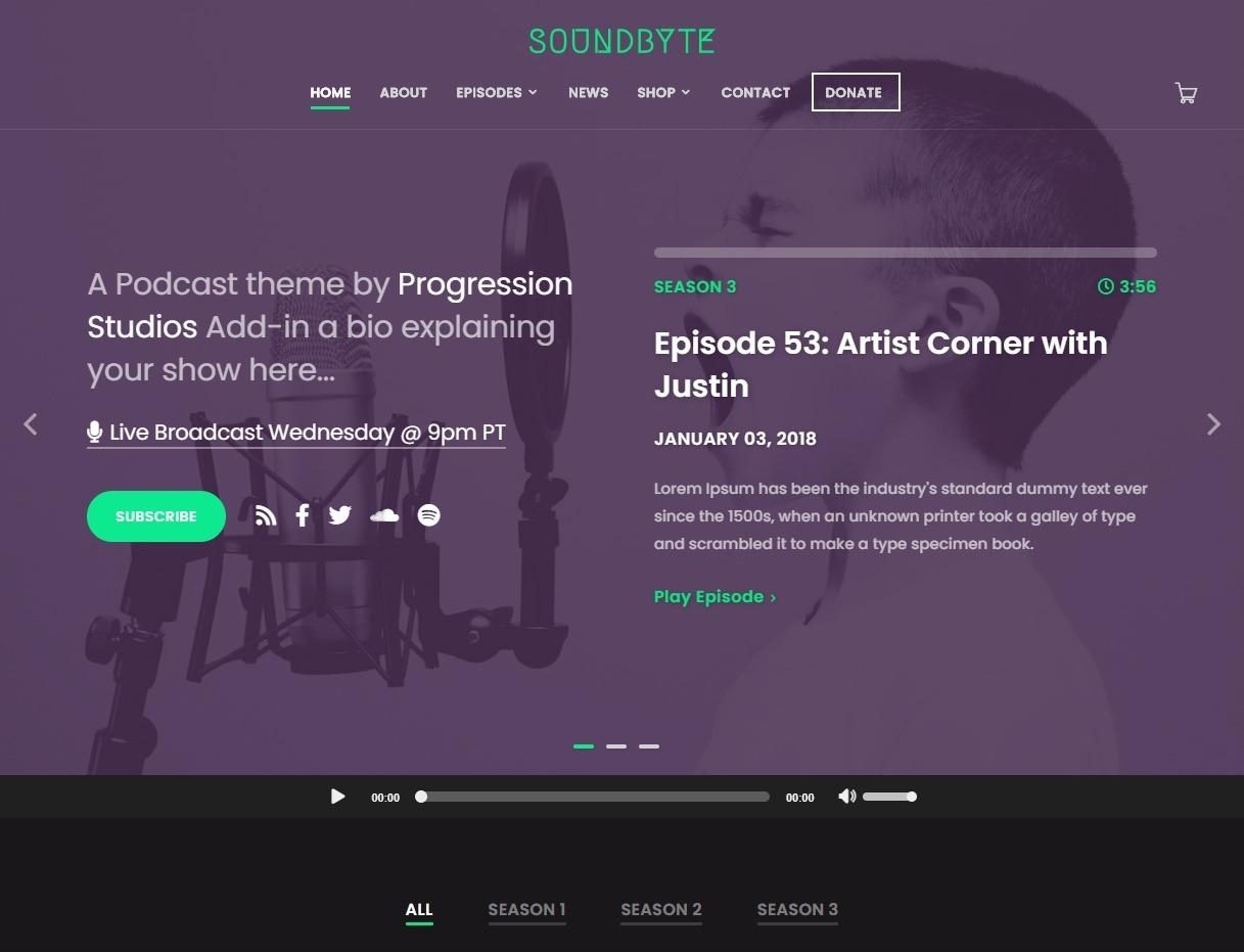 Soundbyte Podcast Video and Audio WordPress Theme