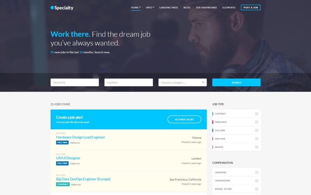 Specialty Job Board WordPress Theme
