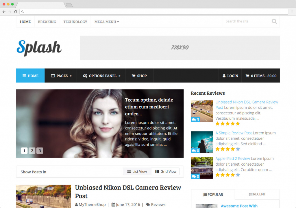 Splash WooCommerce Ready WordPress Online Reviews Magazine Theme