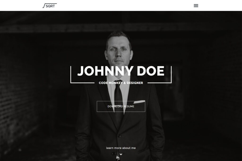 SquareRoot vCard and Personal CV Theme for WordPress