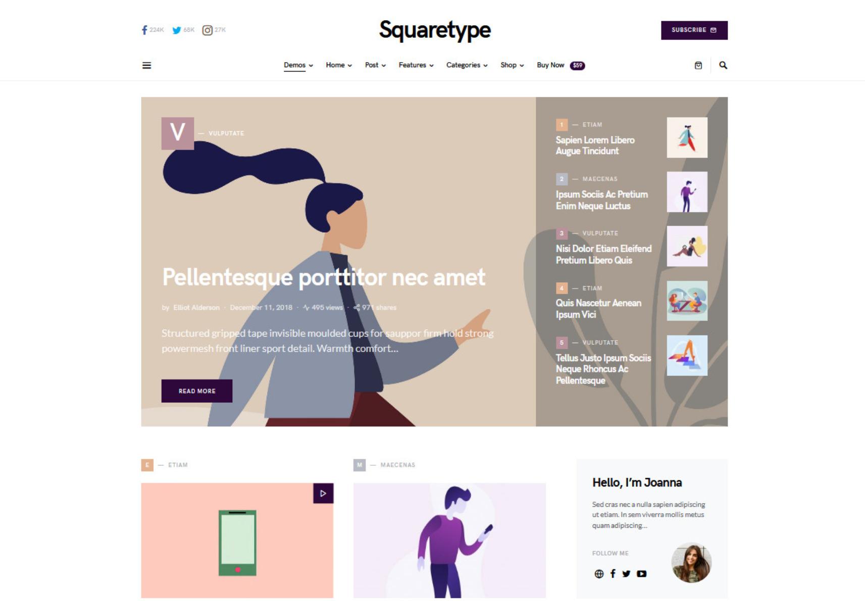SquareType Clean Flat Minimal Blogging Theme