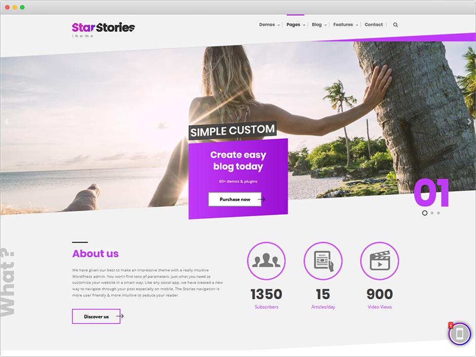 StarStories Unique WordPress Video Theme