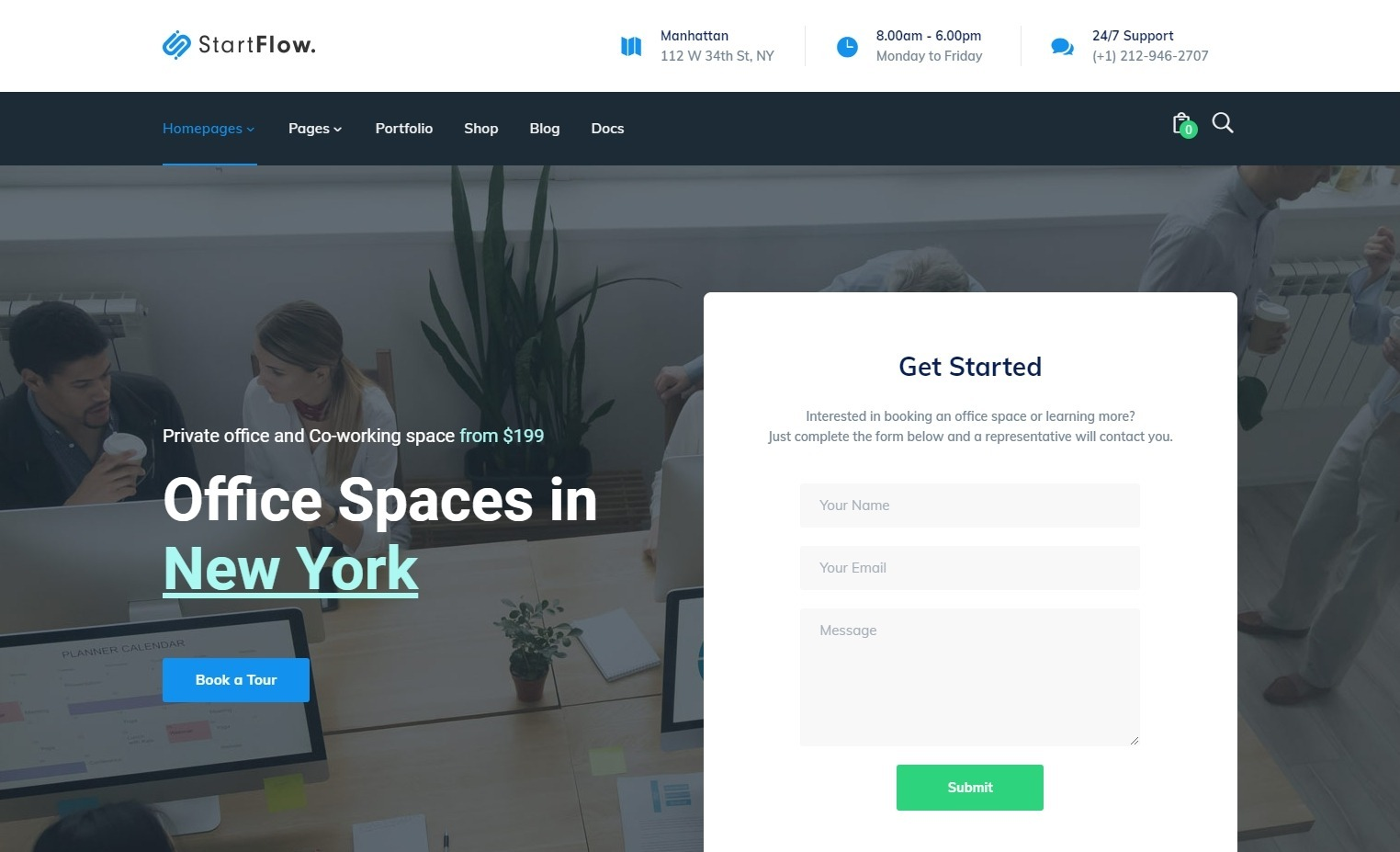 StartFlow Coworking Space WordPress Themes