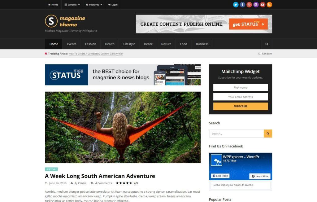 Status Flat Magazine and Blog Theme