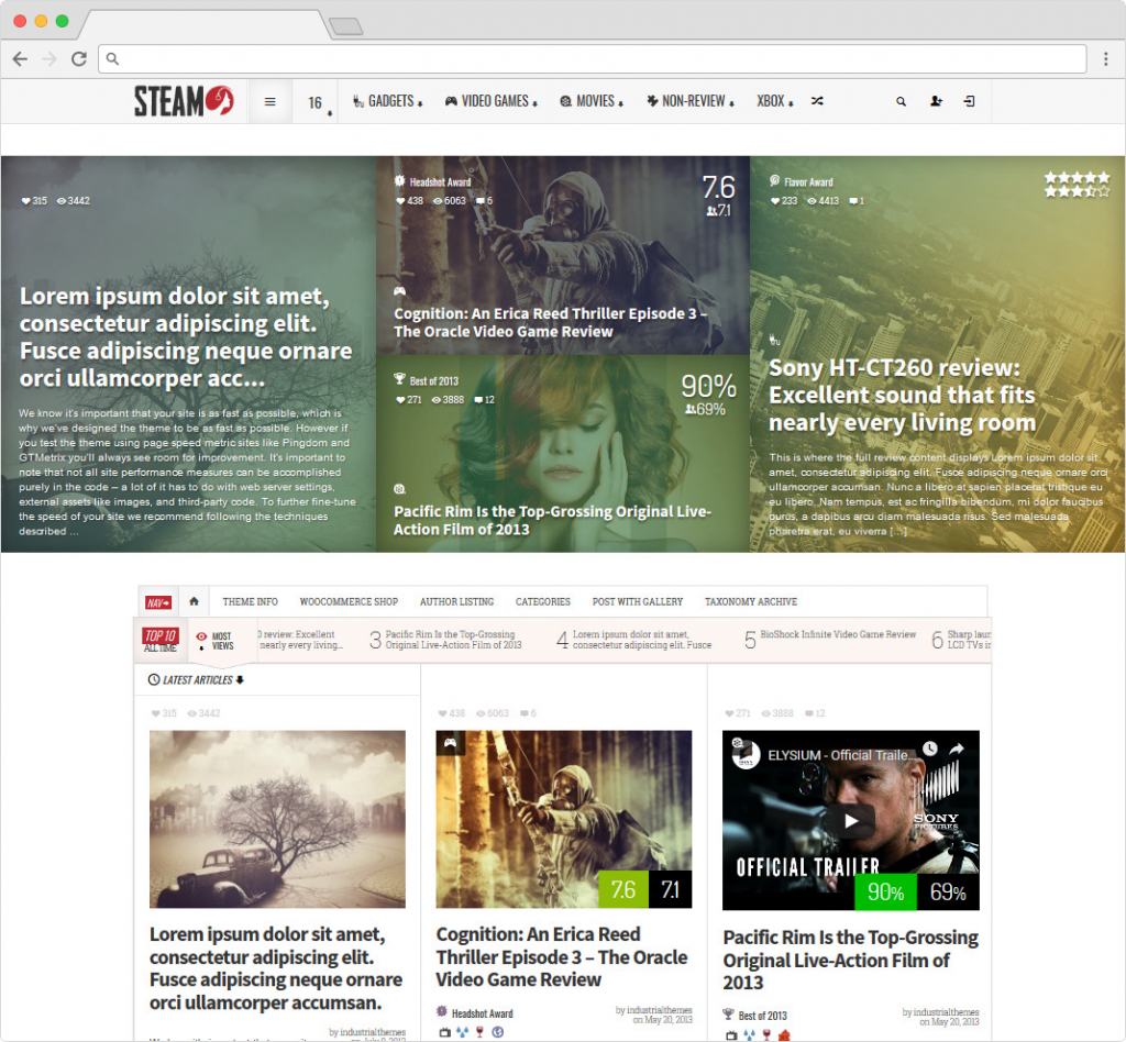 Steam WordPress Theme For Reviewing Products